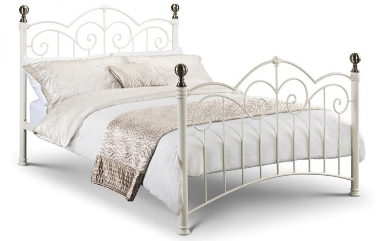 Isabel Bed - Stone White Finish with Brass Finials 150cm