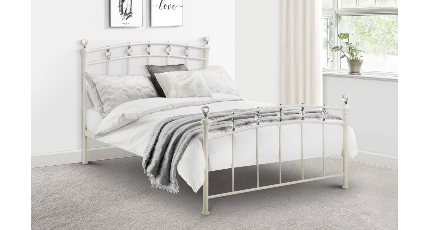 Sophie bed - stone white finish with crystal finials 150cm