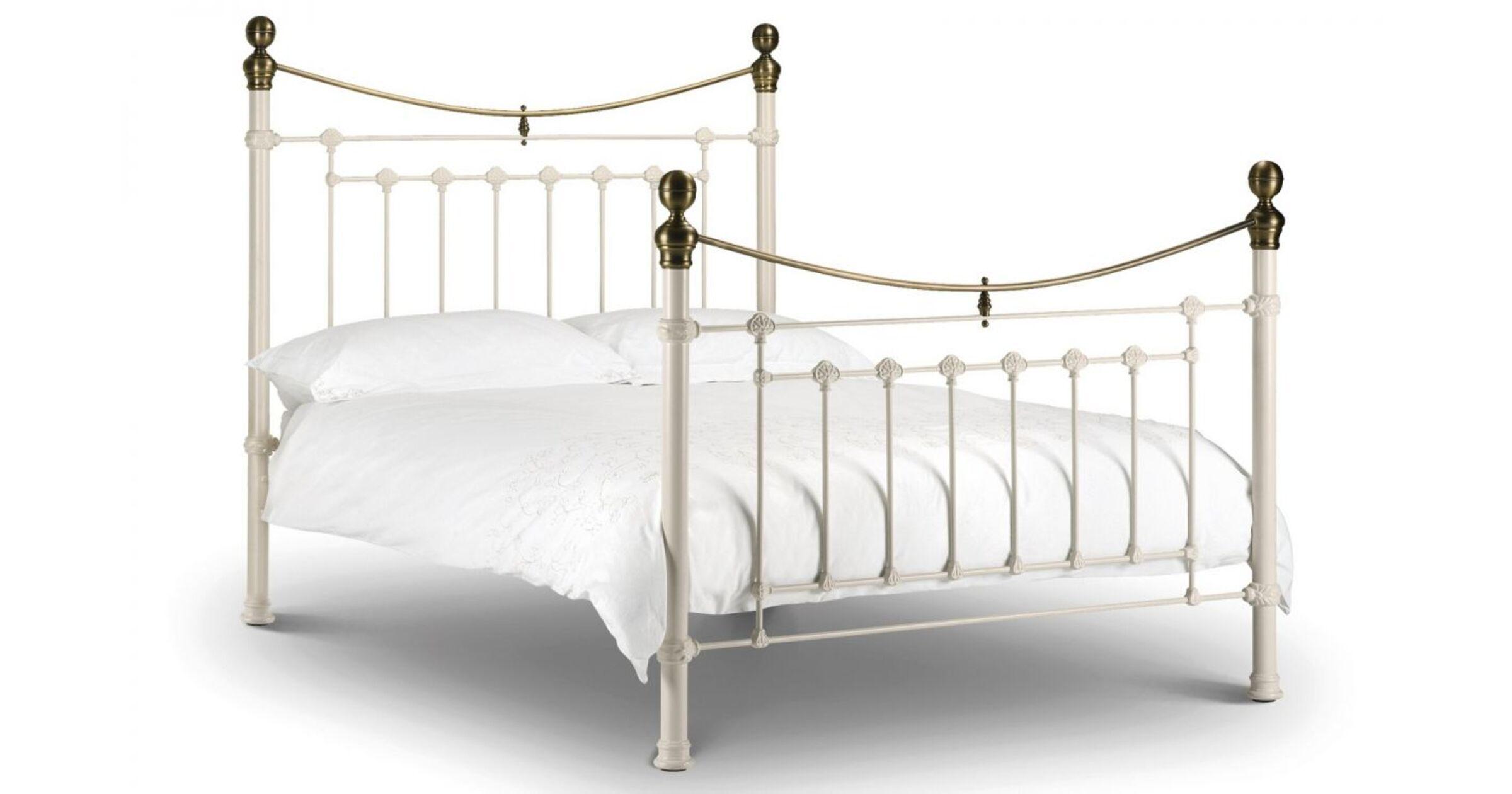 Alexander 150cm Stone White And Brass Bed Designer Sofas4u