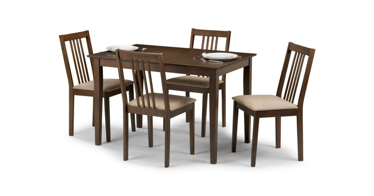 napier extending dining table nutmeg finish with 4 chairs