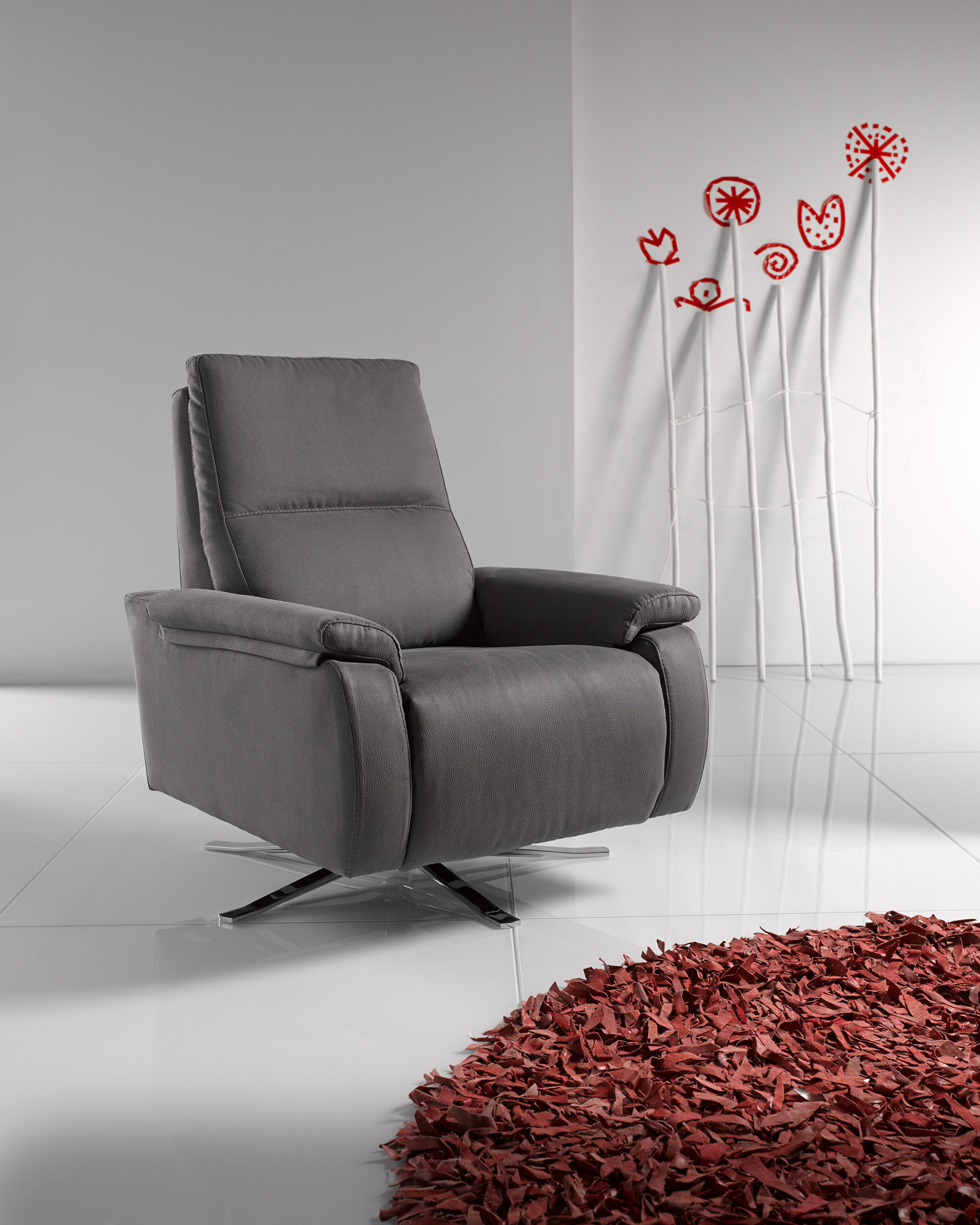 Astonishing Candy Leather Reclining Revolving Designer Chair Onthecornerstone Fun Painted Chair Ideas Images Onthecornerstoneorg
