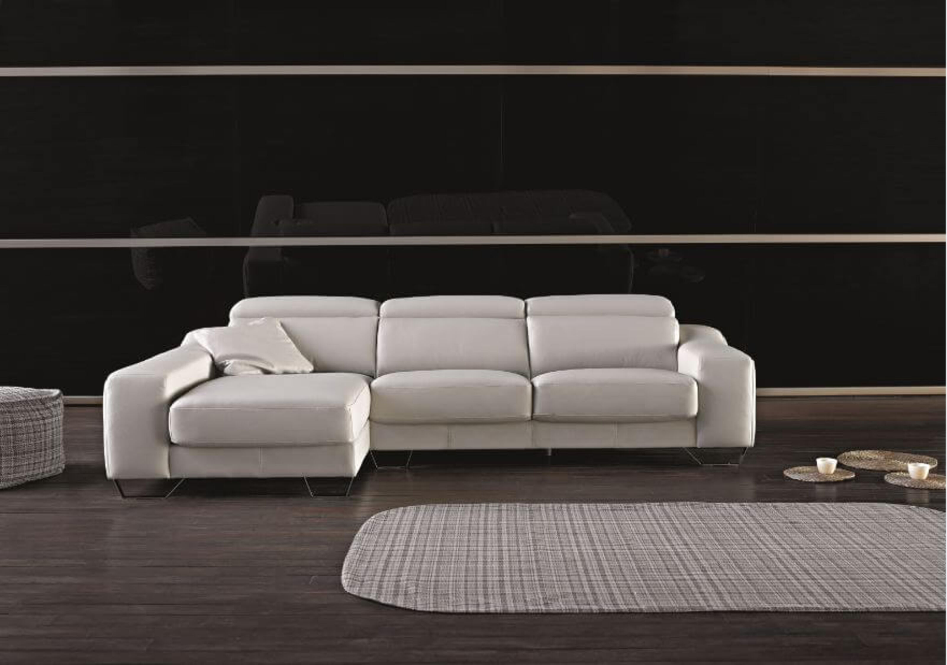 Cinthia Italian Reclining Leather Corner Group Sofa Blanco White