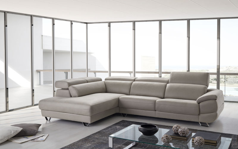 Dalmata Italian Leather Corner Group Sofa Pietra