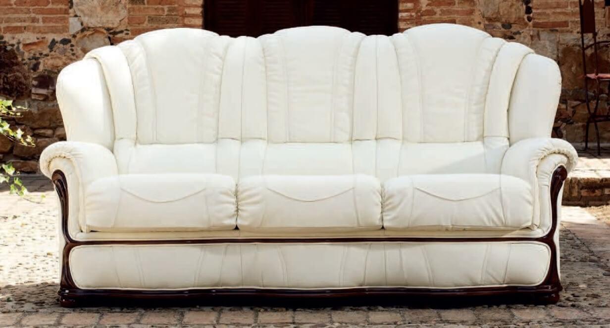 - Laura 3 Seater Italian Leather Sofa Settee Blanco White