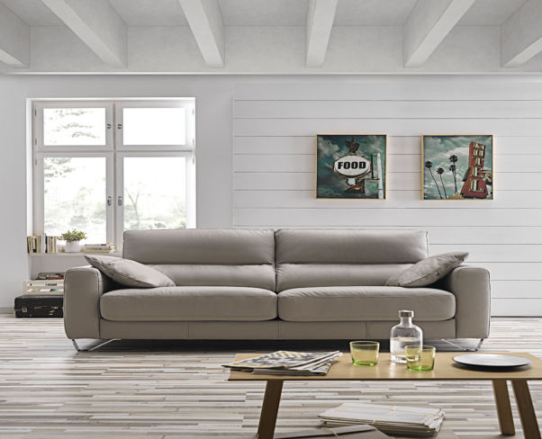 Lauren Italian Sliding Leather Sofa Crema