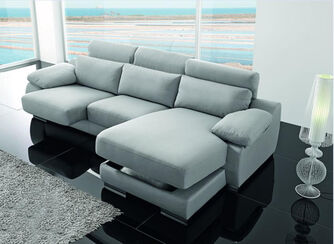 Lucas Grey Italian Fabric Corner Group Sofa