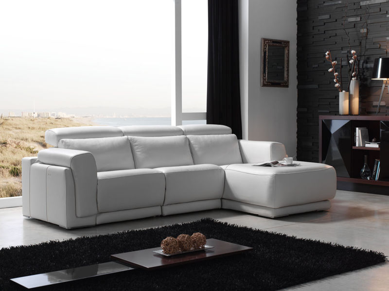 Madeira Italian Reclining Leather Corner Group Sofa
