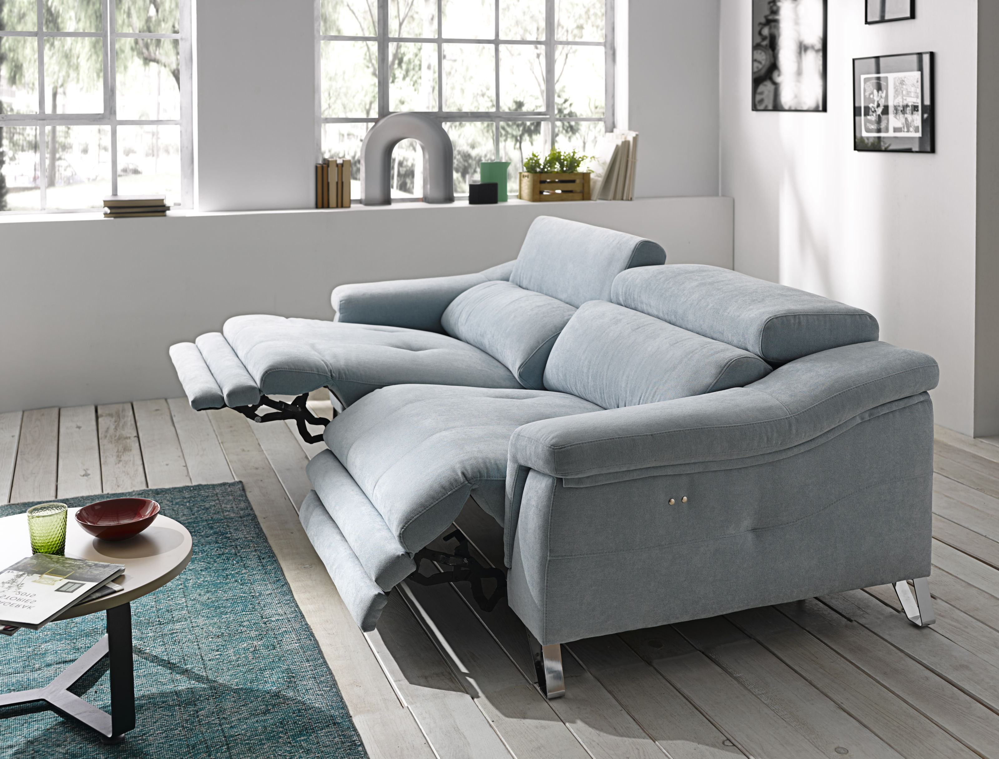 Mirella Italian Fabric Reclining 3 Seater Sofa Memory Foam Seating