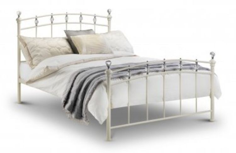 Sophie Kingsize Bed Stone White With Crystals Finials