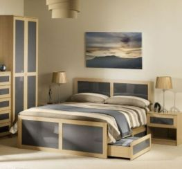 Strada Double Drawer Storage Bed Light Oak And Smoked High Gloss