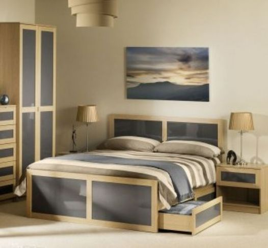 Strada Kingsize Drawer Storage Bed Light Oak And Smoked High Gloss