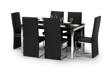Tempo Chrome & Black Glass Dining Table With 4 Chairs