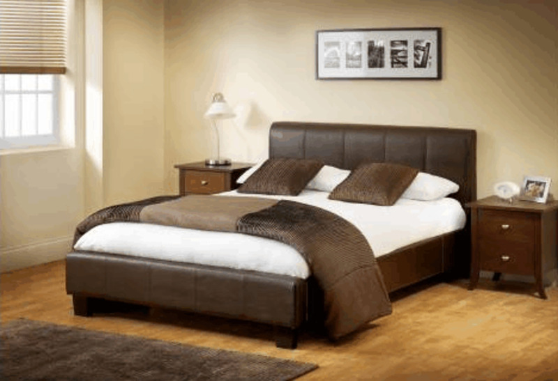 Vienna Double Brown Faux Leather Bed, Modern Leather Bed