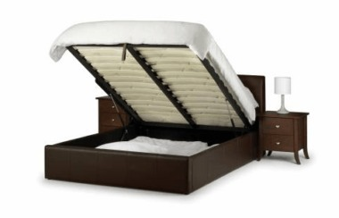 Vienna Double Brown Faux Leather Storage Bed