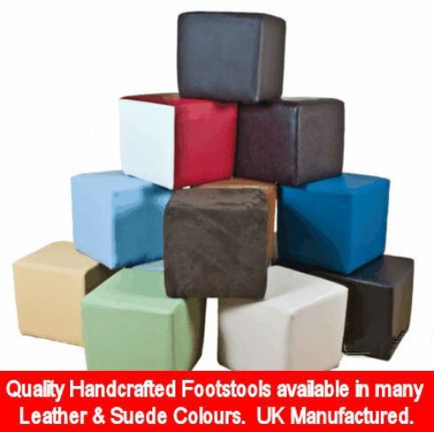 Footstool Cube Pouffe Leather Ottoman