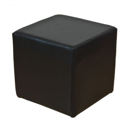 Footstool Cube Pouffe Black Faux leather