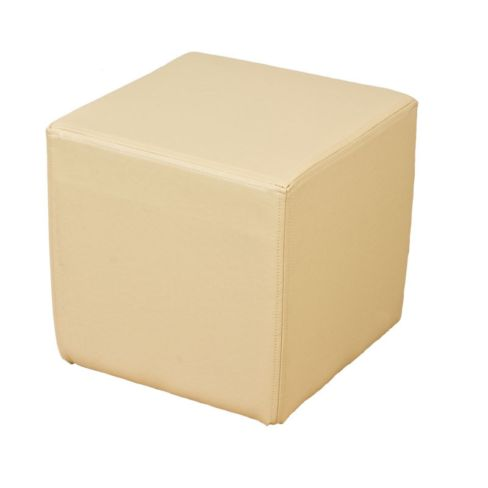 Footstool Cube Pouffe Cream Faux Leather