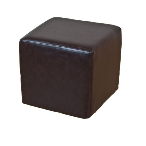 Footstool Cube Pouffe Faux Leather Mahogany