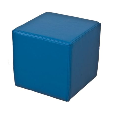 Footstool Cube Pouffe Faux Leather Ocean Blue