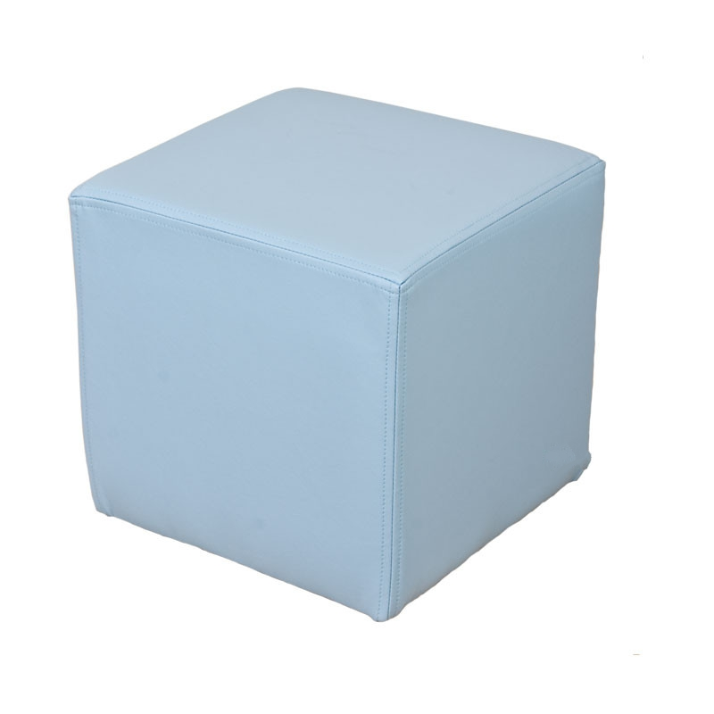 Superb Footstool Cube Pouffe Faux Leather Sky Blue Creativecarmelina Interior Chair Design Creativecarmelinacom