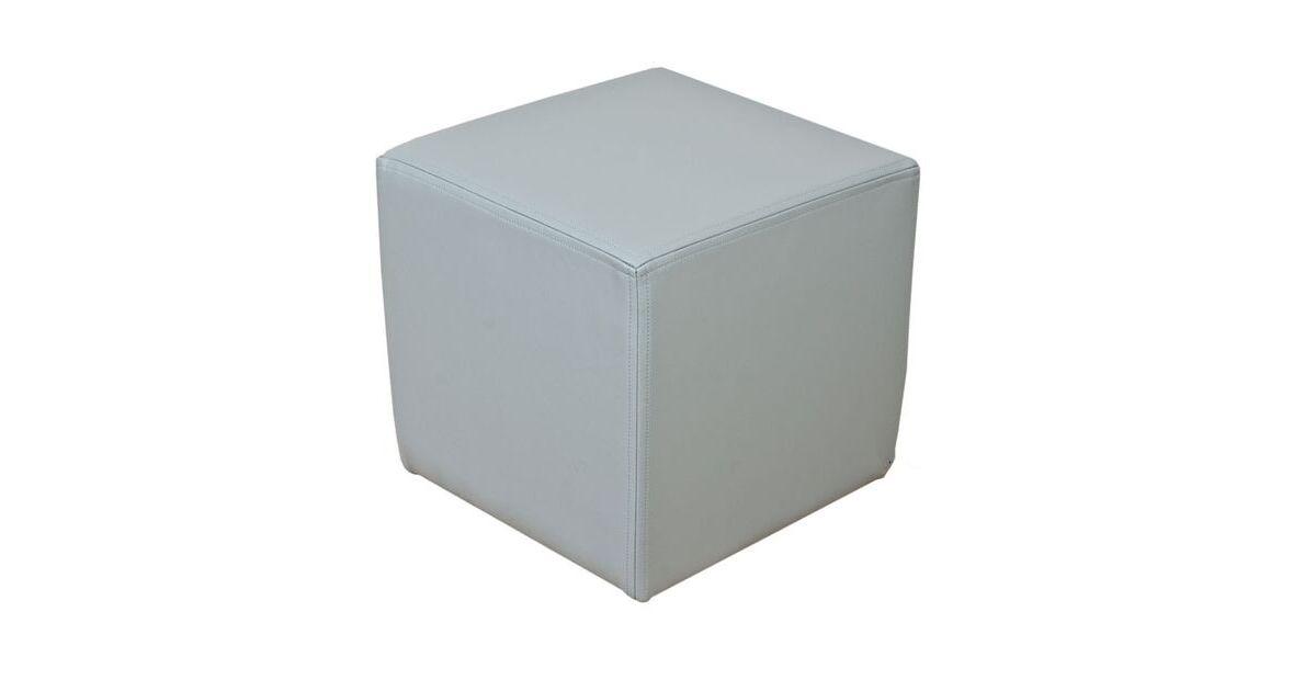 Admirable Footstool Cube Pouffe Faux Leather Steel Grey Designer Sofas 4U Creativecarmelina Interior Chair Design Creativecarmelinacom
