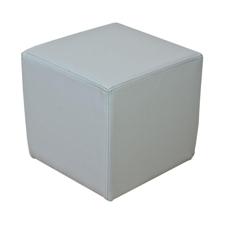 Swell Footstool Cube Pouffe Faux Leather Steel Grey Creativecarmelina Interior Chair Design Creativecarmelinacom