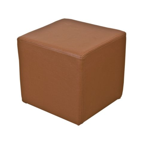 Footstool Cube Pouffe Faux Leather Tan Brown