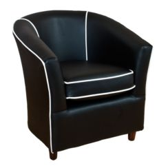 Leather Tub Bucket Chair Black with White Trim