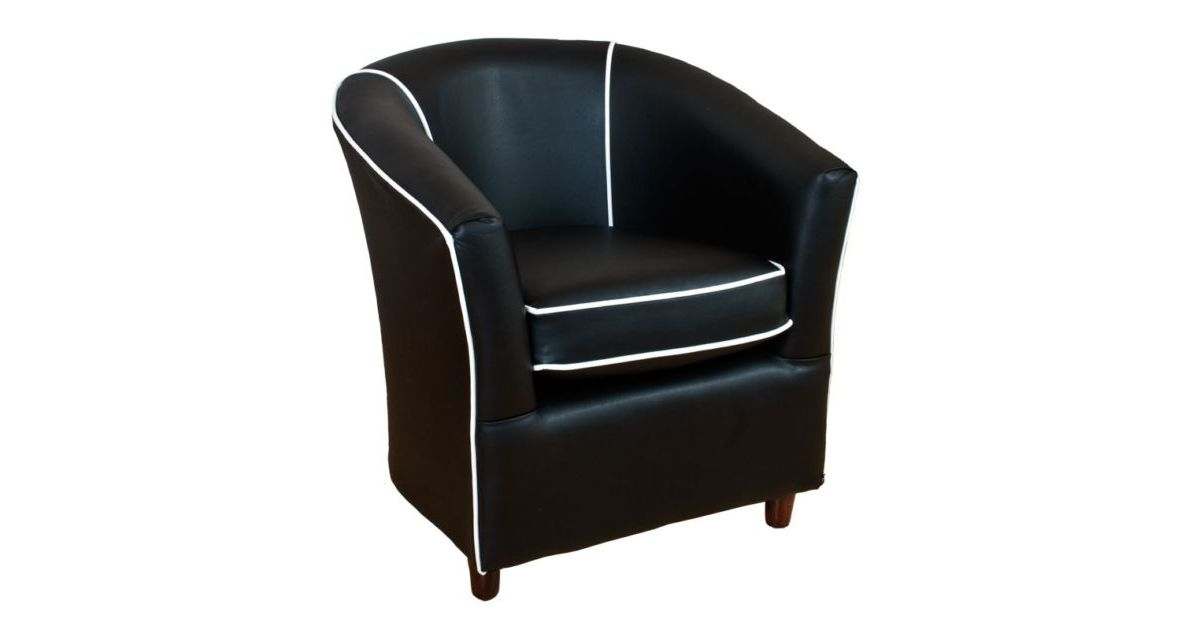 Leather Tub Bucket Chair Black With White Trim Designer