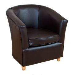 Leather Bucket Tub Chair Cappuccino