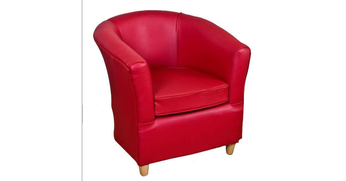 Leather Bucket Tub Chair Ferrari Red