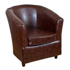 Leather Bucket Tub Chair Mahogany
