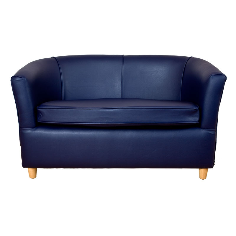Leather Bucket Tub Chair Navy Blue