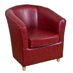 Leather Bucket Tub Chair Paprika Wine