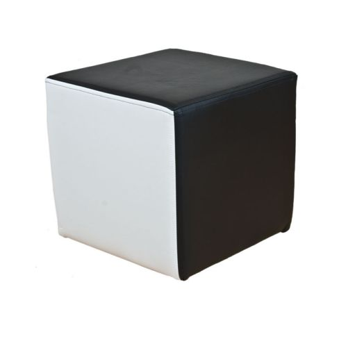 Footstool Pouffe Faux Leather Ying Yang Black and White