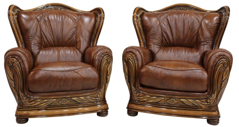 2 x Regina Genuine Italian Leather Tabak Brown Armchairs Offer