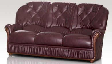 Rome Genuine Italian Leather 3 Seater Sofa Settee Burgundy
