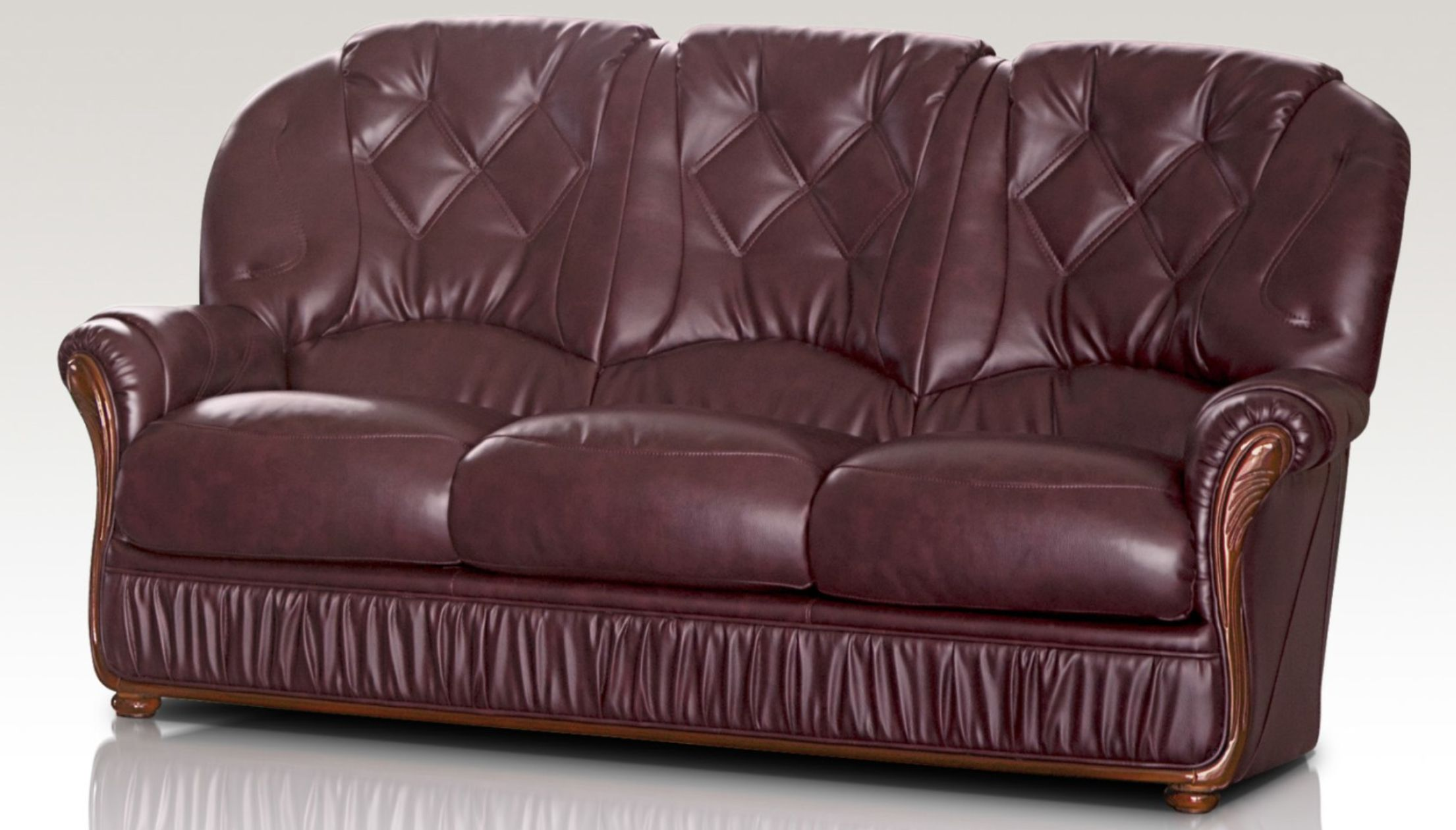 Alabama genuine italian leather 3 seater sofa settee burgundy for Leather sofa 7 seater