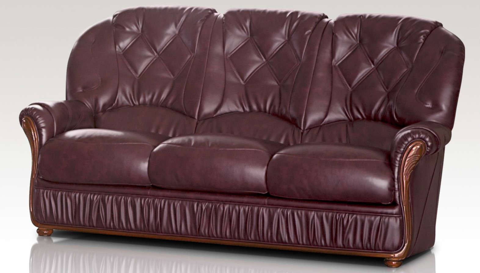 Angela italian leather 3 seater sofa settee burgandyjpg for Genuine italian leather sectional sofa