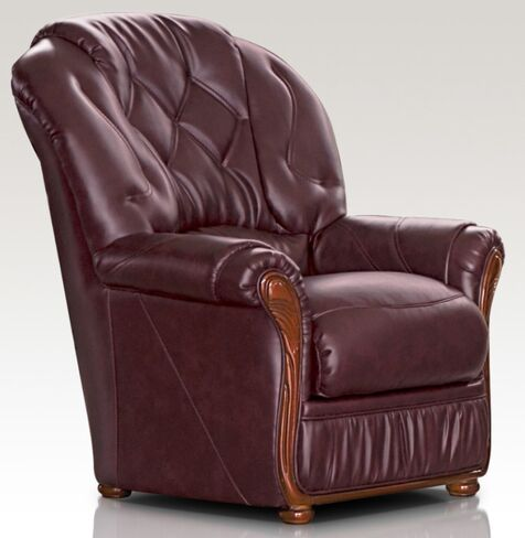 Rome Genuine Italian Sofa Armchair Burgandy Leather