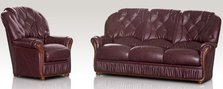 Alabama 3 Seater + Armchair Genuine Italian Burgandy Leather Sofa Suite Offer