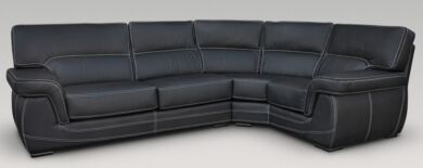 Babylon 3 + Corner + 1 Genuine Italian Black Leather Corner Sofa Group Suite Offer