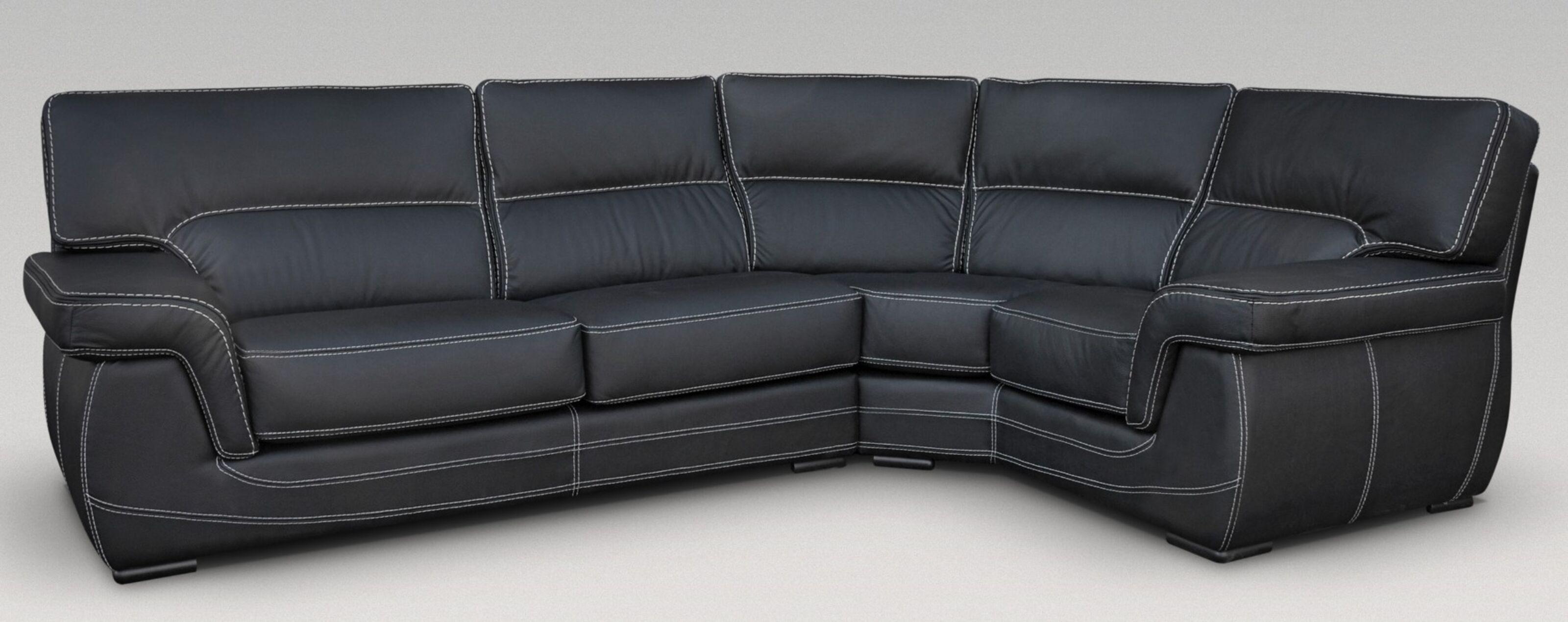 Alaska 3 + Corner + 1 Genuine Italian Black Leather Corner Sofa ...