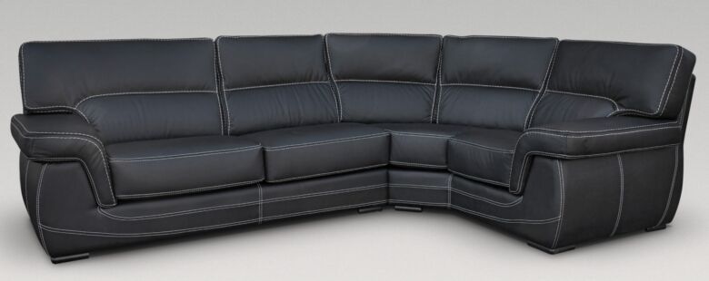 Alaska 3 + Corner + 1 Genuine Italian Black Leather Corner Sofa Group Suite Offer