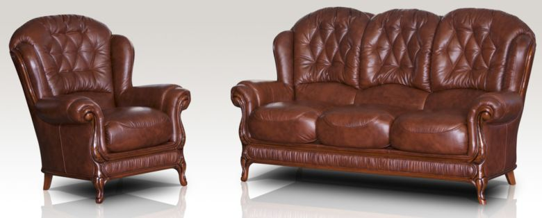 Jupiter Range 3 Seater + Armchair Genuine Italian Tabak Brown Leather Sofa Suite Offer