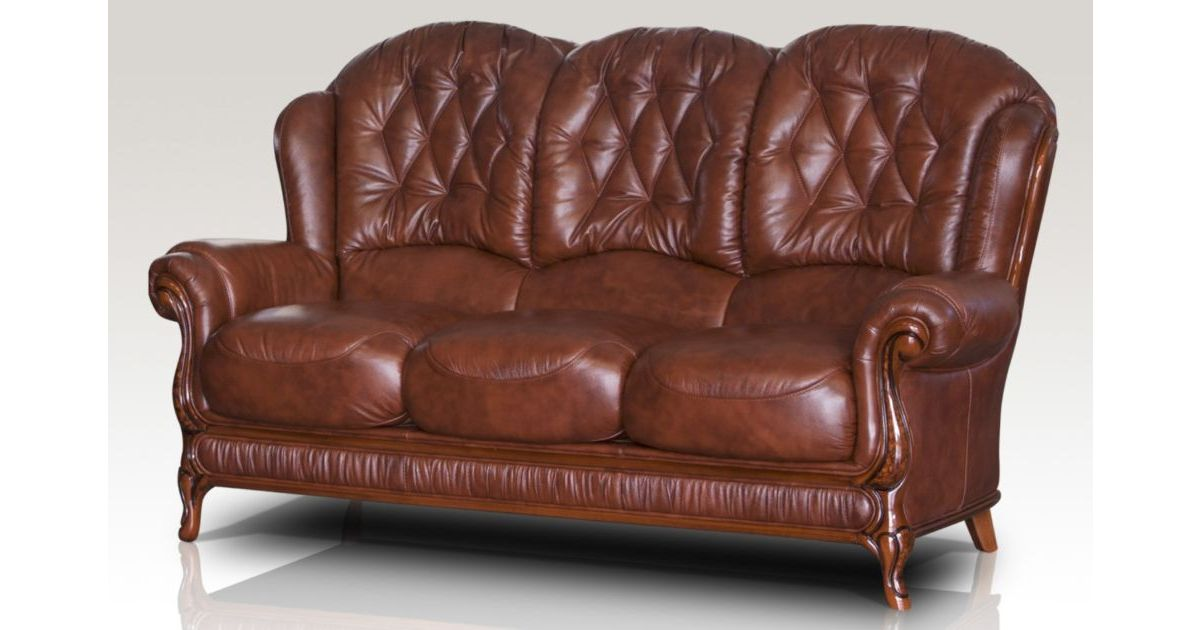 Jupiter range genuine italian leather 3 seater sofa settee tabak brown Italian leather sofa uk