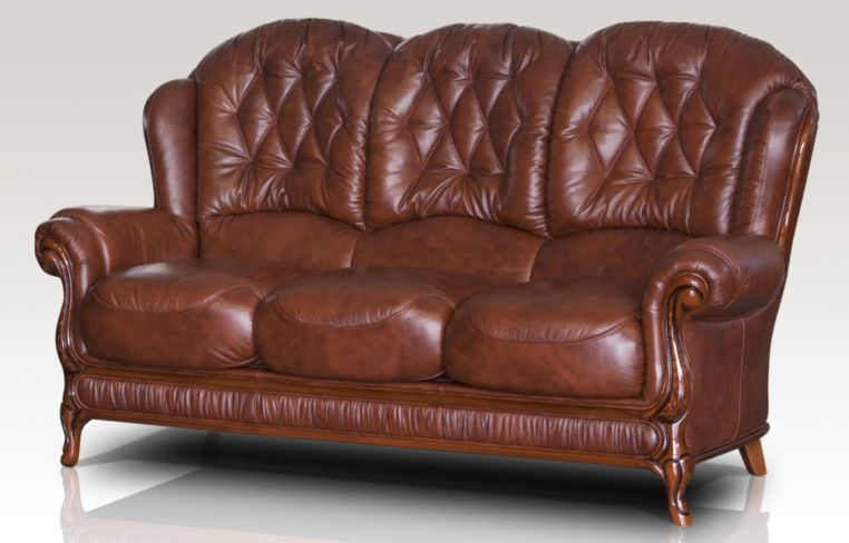Arizona Genuine Italian Leather 3 Seater Sofa Settee Tabak Brown