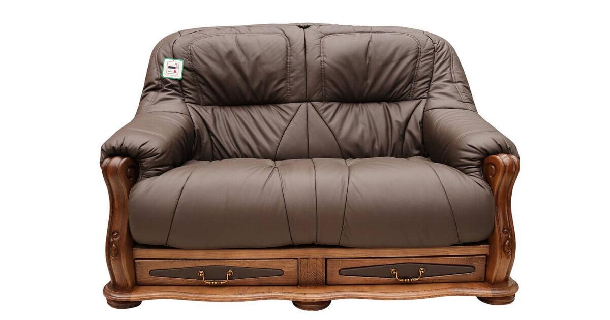 Belgium Storage Drawer Genuine Italian Leather 2 Seater