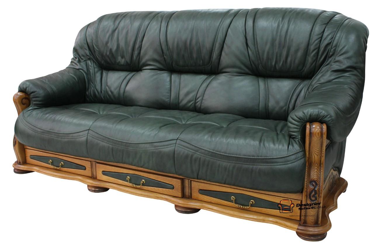 ... Belgium 3 Seater Drawer Leather Sofa Settee