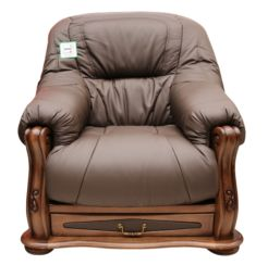 Belgium Storage Drawer Genuine Italian Leather Armchair Chocolate Brown